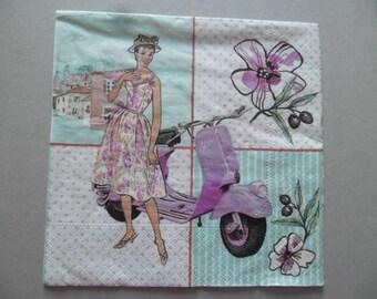 x 1 napkin pattern woman scooter 33 x 33 cm