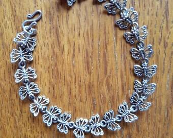 Delicate silver butterfly bracelet