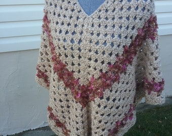 Beige Crocheted Poncho