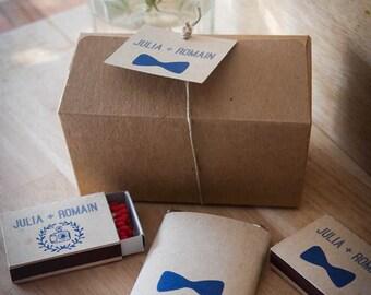 Cadeaux invités mariage - 1 petites boîte kraft / 1 mini tablette de chocolat / 2 boîtes d' allumettes - Min 10