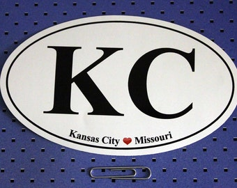 Kansas City Missouri (KC) Oval Bumper Sticker