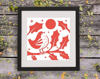 Christmas Robin Paper Cut Template - Digital Download - PDF - Cut it yourself - Create your own Christmas gift - Paper art pattern