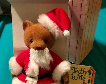 Vintage Mr. Clause Bear, Teddy 'n Me, Merry Christmas Mattel Santa Teddy Bear, by Emotions, 1983 Posable Doll w/Box