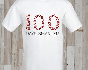 Instant Download - 100 Days Smarter - 100 Hearts - 100th Day of School Iron-On Transfer design for kids/school/classroom/teacher - Printable
