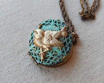 Bird Locket, Patina Jewelry, Filagree Locket, Locket Necklace, Gift for Her