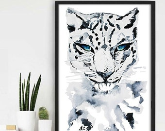Leopard Watercolor Print, Big Cat Painting, Big Cat Watercolour, Animal Wall Decor, Animal Watercolour Painting, Aquarel Leopard Print