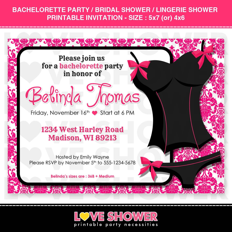 Bachelorette Party Bridal Shower Lingerie Shower Invitation