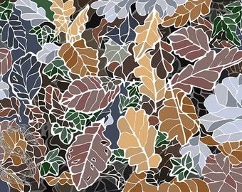 Winter leaves, frosted leaves, brown and green artwork, pretty picture for living room, patterned leaves, autumn leaves, gift for a gardener