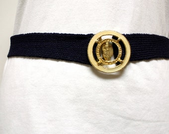 Vintage 1980s Blue knitted Belt with creamand brass enamel buckle