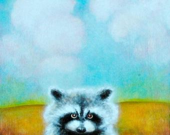 "Racoon Art Print  - Nature Print -  Cute Animal Art  5""x7"""