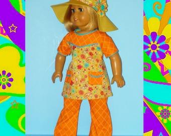 Bell Bottom Pants, Top et bohème chapeau souple s'adapte à American Girl Doll Julie