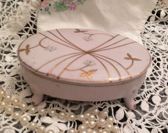 Midcentury porcelain trinket box, jewelry box, Arnart Creations, hand painted moorage flowers, gold paint, gift for her