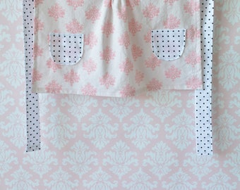 Ice Cream and Sprinkles Apron - Girl's Apron, Child's Apron, Pink and Black, Black and White Polkadot, Pink and White Damask, Play Kitchen