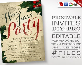 Christmas Invitation Template - Vintage Holly Holiday Party Invitation - Printable DIY Christmas Party Invitation Editable Holiday Event