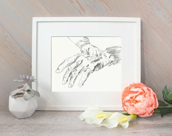 Hands watercolor- Old and young hands - grandma and grandchild - black and white watercolor print