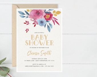 Floral Baby Shower Invitation, Printable Boho Shower Invite, Romantic Bridal Party invite, Shower Party Invite Printable (A25.Shower)