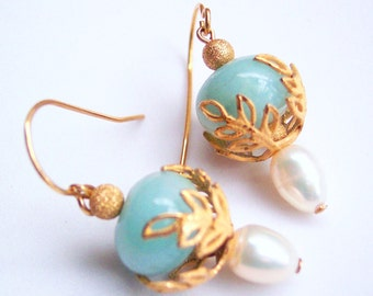 Petite Amazonite Gold Leaf Earrings with Vintage Filigree Leaf Caps, Gift for Her, June Birthday