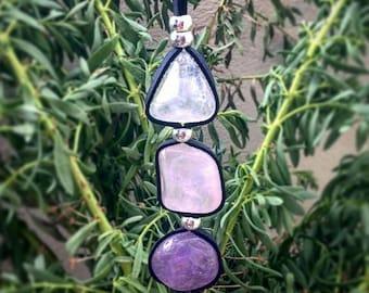 Clear Quartz, Rose Quartz and Amethyst Crystal Necklace