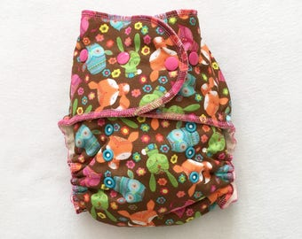 One Size Fitted Hybrid Cloth Diaper Foxes, Owls, and Cats