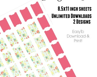 Page Tabs - Journal Tabs - Planner Tabs - Project Planner Digital - Journal Printable - Page Flags - Book Tabs