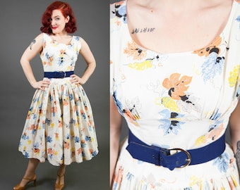 1950s Cotton Leaf Novelty Print Sundress - Size Small | 50s Day Dress | Summer Dress | Fit and Flare Dress |