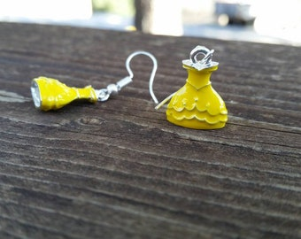 Yellow Princess Dress Charm Earrings - 3 dimensional Ball Gown Charms - Fashion Jewelry Accessories - Belle Ball Gown