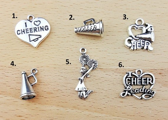 Add a Charm to Any KainsBoutique Order - Cheerleader Charms Cheerleading Charm Megaphone Charm Love to Cheer Charm I Love Cheerleading