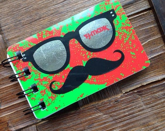 Hipster Glasses Mini Notebook - Upcycled Gift Cards