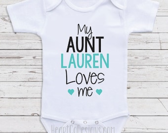 My aunt loves me etsy personalized baby clothes my aunt loves me short or long sleeve baby one negle Images