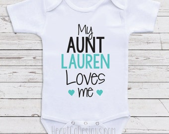 Baby girls bodysuits etsy nz personalized baby clothes my aunt loves me short or long sleeve baby one negle Choice Image