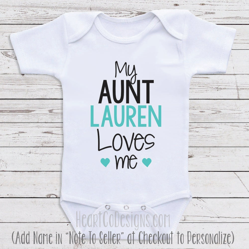 Personalized baby clothes my aunt loves me short zoom negle Image collections