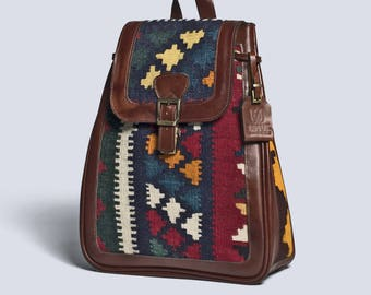 Shamim Kilim Leather Backpack