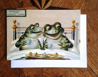 Breakfast in Bed.  Charming Vintage Frog Greeting Card Repro.