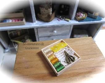 Miniature threads & cloth  box- unique items- Scale 1:12- Dollhouses miniatures