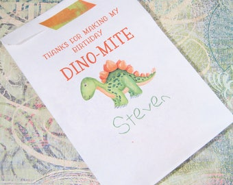 Dinosaur Treat Bags - Birthday Party Loot Bags - Jurassic Park Party - Personalized - Goodie Bag - Set of 25 - Trending - Printed Paper Bag