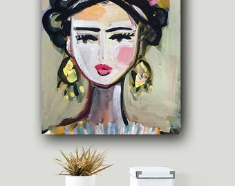 Frida Portrait, Frida Print, abstract, paper or canvas