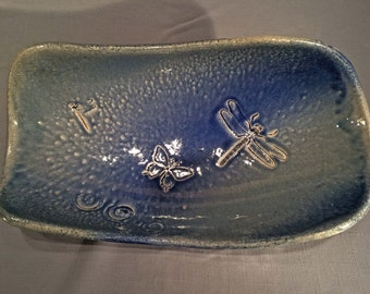 Dragnonfly and Butterfly - stoneware tray