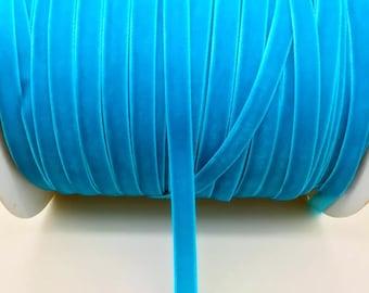"3/8"" Turquoise Velvet Ribbon by the Yard   O3"