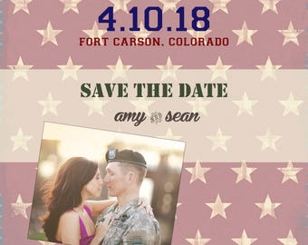 save the dates for wedding, wedding save the date magnets, wedding save the date postcards, military save the dates, flag save the dates