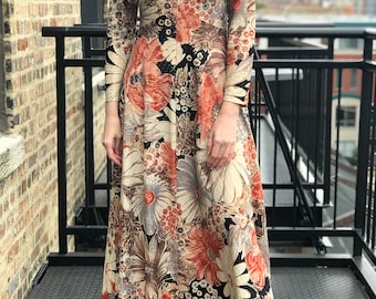 sparkly floral long sleeve maxi dress