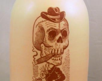 skull smoking cigar jug decorative handmade