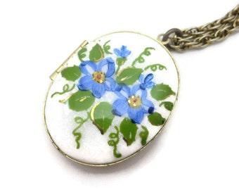 Enamel Locket - Guilloche, Blue Flowers, Mid Century