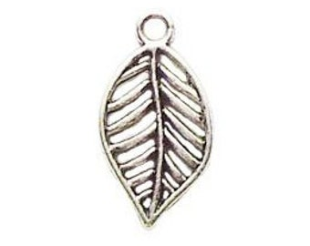 16 Silver Leaf Charm Nature Pendant 19x10mm by TIJC SP0406