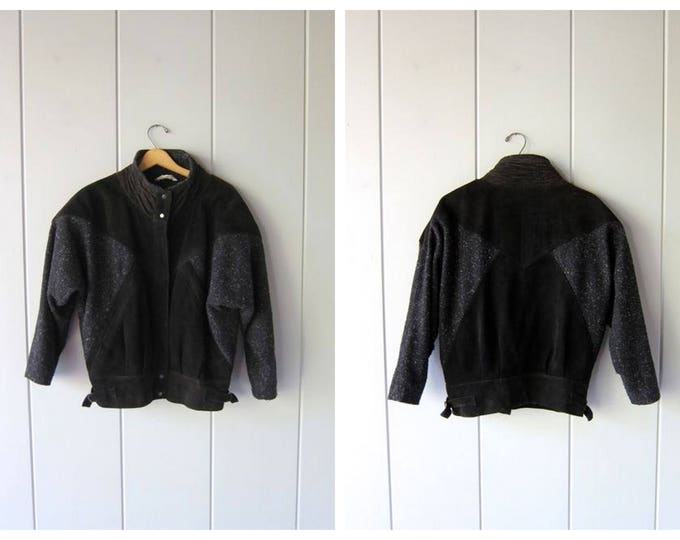 80s black leather + wool coat