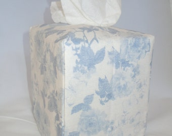 Ready To Ship -  Large Pale Blue Roses-  Fabric Tissue Box Cover