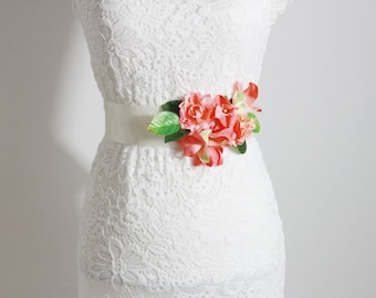 Wedding Sash Belt Bridal Sash Belt - Wedding Dress Sashes Belts - Rustic Sash Belt Flower Sash Belt Floral Belt Coral Flower Sash Belt