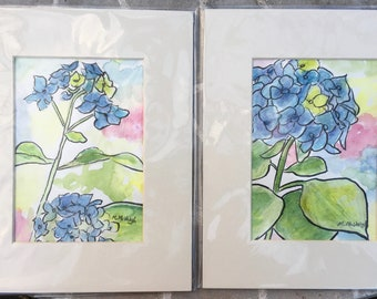 Set Of Original Hydrangeas Watercolor paintings