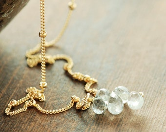 Aquamarine Birthstone Cluster Necklace in 14k Gold Fill, Delicate March Birthday Jewelry