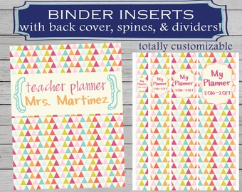 Teacher Binder Inserts // Covers, Spines, and Dividers // Personalized Teacher Planner Printable //School Binder Inserts //Teacher Organizer