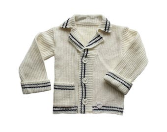 FRENCH VINTAGE 70's / kids / waistcoat / cardigan / nautical style / new old stock / size 6 years